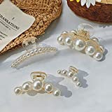 Hair Claw Clips for Women Large Pearl Jaw Clips