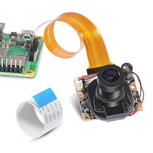Aokin Raspberry Pi 3 Model B+ Camera Module Automatic IR-Cut Switching Day/Night Vision Video Webcam Adjustable Focus 5MP OV5647 Sensor 1080p HD for Raspberry Pi 2/3 Model B Model A - B&w Camera Vision Ir Night