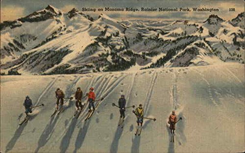 Skiing on Mazama Ridge Mount Rainier National Park, Washington Original Vintage Postcard ()