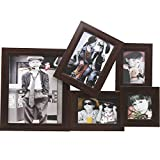"""EC TEK Wooden Effect Photo Picture Frames Collage for Wall Hanging 5 Option (5- 10x 8"""", 7x5"""", 6x4"""", 4x4"""", 5x3.5"""") - Darkwood"""