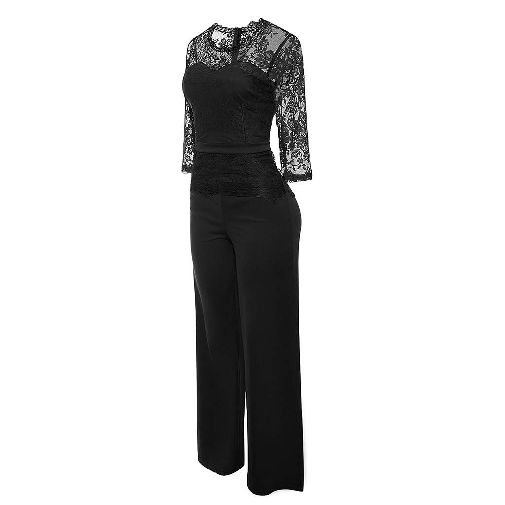 7bb4fa10a620 Amazon.com: Lace Jumpsuit for Women,Sunyastor Elegant Lace Back Hollow Out Playsuit  Cocktail High Waisted Wide Leg Long Romper with Belt: Clothing