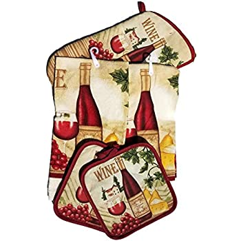 HomeConcept 5 Piece Kitchen Towel Set Includes 2 Towels 2 Potholders 1 Oven Mitt (Wine)
