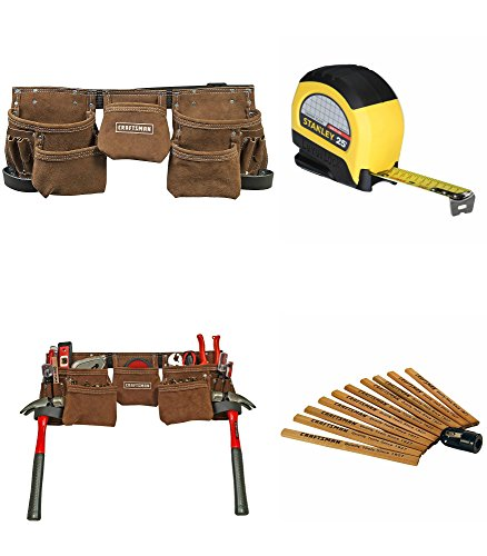 Craftsman Carpenters Bundle | 11 Pocket Suede Leather Tool Belt | Flat Carpentry Pencils (10pk) | Stanley 1