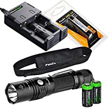 Fenix PD35 TAC 1000 Lumen CREE LED Tactical Flashlight with genuine Fenix ARB-L2 battery, EdisonBright smart Charger and Two EdisonBright CR123A Lithium Batteries bundle by EdisonBright