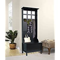 Hall Tree Lift Top Storage Panel Six Mirrors Accent the Back Panel Wood Materil Eco-Friendly Hooks Included Black Color Entryway Furniture