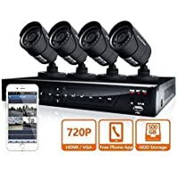LaView 4 HD 720P Camera Security System,  4 Channel 720P HD-TVI DVR w/500GB HDD and 4 720P HD Black Bullet Surveillance Cameras Kit