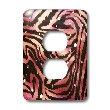 (3dRose lsp_34819_6 Two Plug Outlet Cover with Hot Pink Zebra with Sequins)