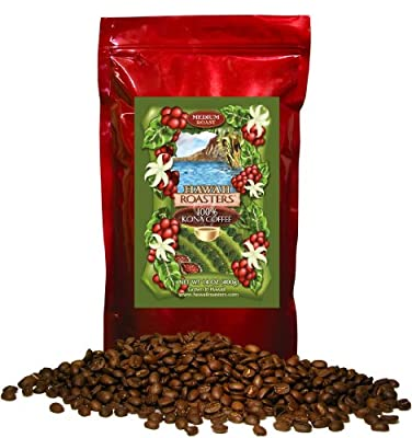 Hawaii Roasters 100% Kona Coffee, Medium Roast, Whole Bean, 14-Ounce Bag