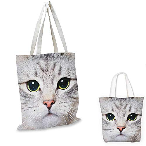 Cat non woven shopping bag Cute Cat Print Kitten Kitty Closeup Portrait Digital Photography Lovely Domestic Pet fruit shopping bag Grey Ivory. 16