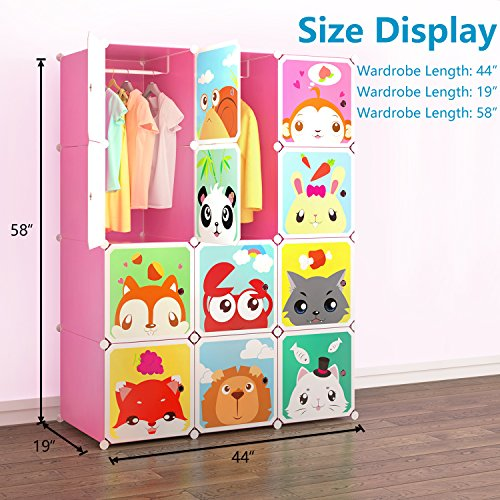 Tespo Portable Clothes Closet Wardrobe for Children and Kids, Cute Cartoon, DIY Modular Storage Organizer, Sturdy and Safe Construction, 12 Deeper Cubes with Hanging Rods, Pink by Tespo (Image #2)