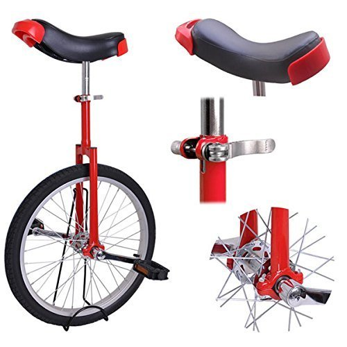 20'' Inches Uni-Cycle Wheel Skid Proof Tread Pattern Unicycle - Red