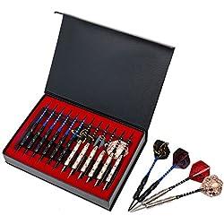 Agirlgle 12 Pack Steel Tip Darts Set 22 Grams with Nonslip Iron Barrel, Aluminum Dart Shafts , and 4 Style Flights + Darts Sharpener +a Beautiful Gift Box