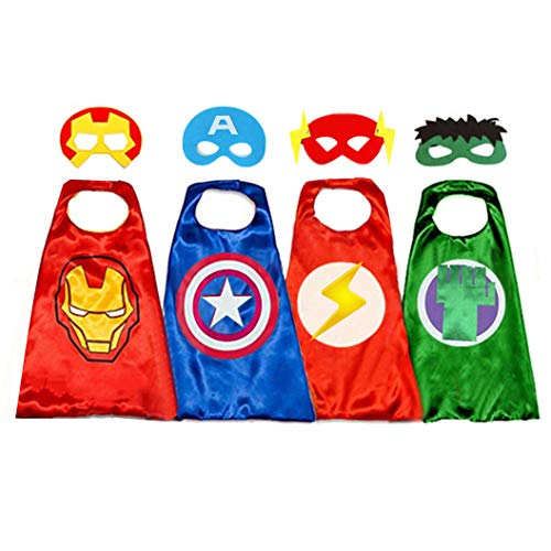 Superhero Capes for Kids, 8 Heroes Reversible Satin Capes and Masks for Dress Up Costumes (4 Cape, 8 Mask)