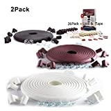SafeBaby & Child Proofing Edge Corner Guard. 23.2ft,16 Baby proofing Furniture Foam/Clear Bumpers +26 Corners Set. Childproof Table Cushion, Fireplace Bricks. Fridge/Toilet Lock. Black Brown White