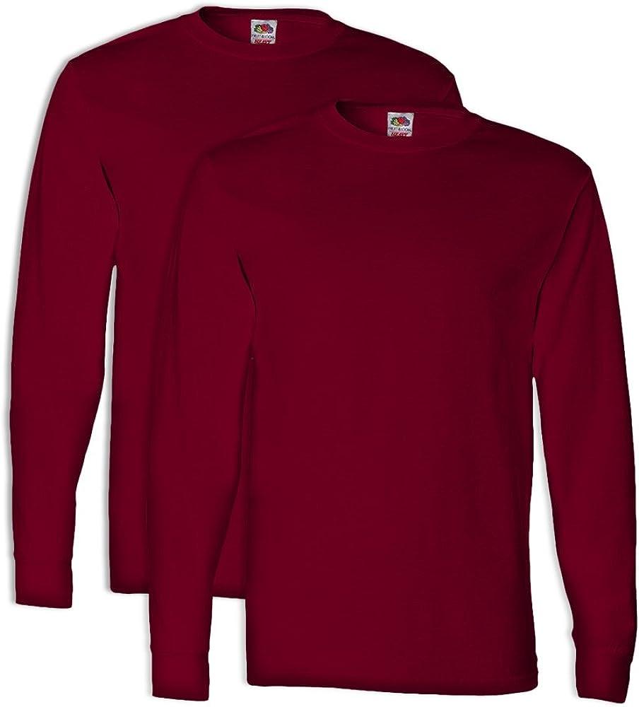 FoTL 4930 Mens Heavy Cotton Long-Sleeve Tee M Cardinal 2 Pack