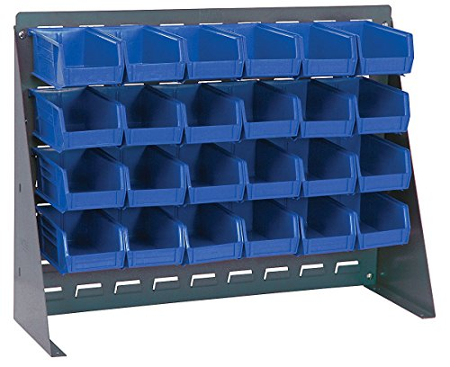 (Quantum Storage Bench Rack with 24 Bins - 27in.L x 8in.W x 21in.H Rack Size, Blue Bins, Model# QBR-2721-220-24BL)