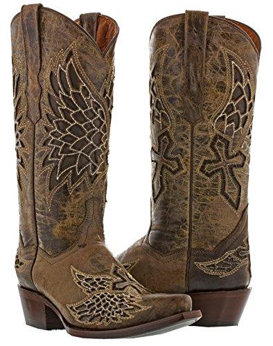 Cowboy Professional Women's Brown Wings & Cross 2 Cowboy Boot Snip Toe 9.5 BM