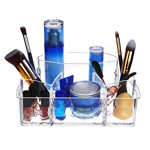 Bath Jewelry Pattern Diamond (Clear Acrylic Makeup Organizer With Diamond Pattern,Acrylic Cosmetic Brushes Holder Storage Tray With 6 Dividers for Bathroom and Bedroom,Perfects for Organizing Palette,jewelry and More (large))