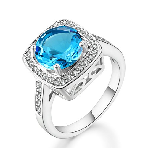 Ritzy Glam Cubic Zirconia Platinum Plated Ring Stunning Crystal Blue March Birthstone in Platinum Halo Setting with 28 CZ Stones Nickel-Free, Anti-Allergy, Round Cut Fashion Jewelry for Women