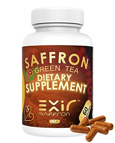 Anxiety Relief Stress Support Saffron + Saffron Extract 45mg High Potency (120 Capsules) Herbal Blend Keeps Busy Mind Relaxed, Focused, Positive; Promote Serotonin Increase by EXIR
