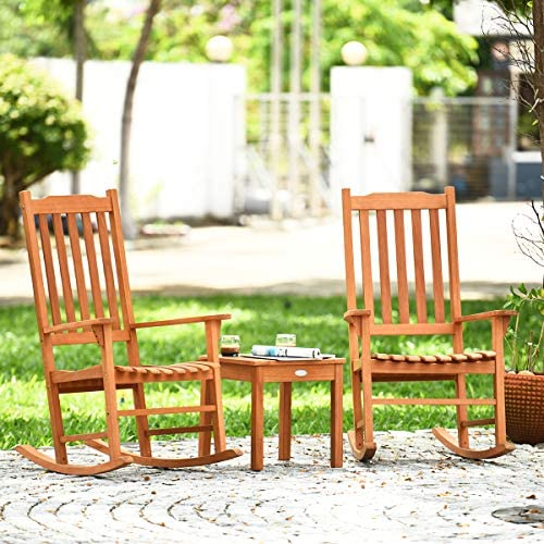 Giantex Rocking Chair 3 Piece Set Wooden W Two Wood Conversation Chairs and Accent Table for Backyard Porch Poolside Lawn Wooden Rocker Set