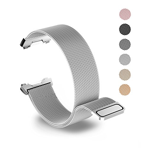 Tecson Magnetic Bands Compatible Fitbit Ionic, Stainless Steel Metal Milanese Loop Replacement Strap with Magnet Lock for Fitbit Ionic Smartwatch, Sliver