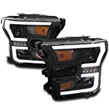 ZMAUTOPARTS Ford F-150 DRL LED Projector Headlights Black