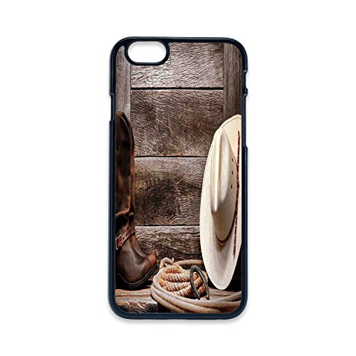 Phone Case Compatible with iPhone6 iPhone6s Black Edge 2D Print,Western Decor,American West Rodeo White Straw Cowboy Hat with Lariat Leather Boots on Rustic Barn Wood,Hard Plastic Phone Case ()