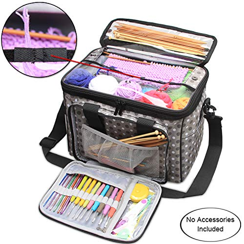 - Teamoy Knitting Bag, Yarn Storage Tote with Inner Divider for Yarn and Unfinished Project, High Capacity, Easy to Carry Crochet Hooks, Knitting Needles and Accessories-No Accessories Included