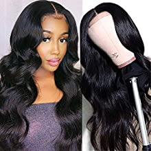 Unice Hair Silk Base Fake Scalp Human Hair T Part Body Wave Lace Closure Wigs Middle Part for Black Women Unprocessed Brazilian Virgin Hair Long Wigs Pre Plucked with Baby Hair 150% Density 18 inch