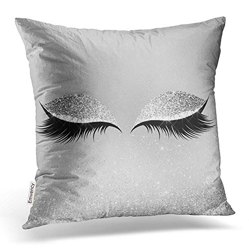 Emvency Square 18x18 Inches Decorative Pillowcase Silver Gray Charming Eyes Black Glam No Actually Glittery Long Eyelashes Polyester Decor Throw Pillow Cover With Hidden Zipper For Bedroom Sofa