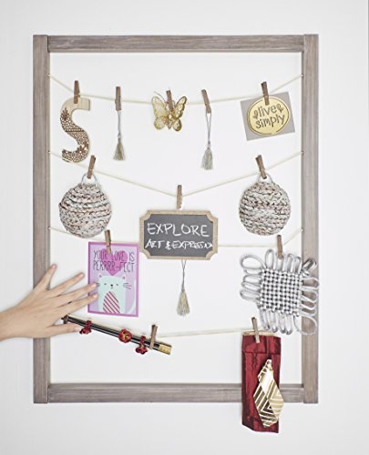 Reimagine Hanging Photo Display- Real Wood Wall Picture Collage Frame With Stylish Cotton or Suede Rope and Clothespins for Hanging and Organizing Prints, Instax, Photos, Artwork- Rustic Grey