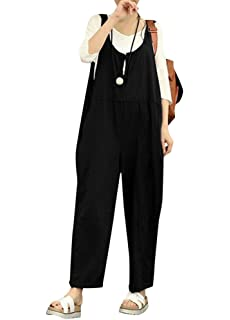 4975ce68eeca Romacci Women Cotton Linen Baggy Overalls Jumpsuits Vintage Sleeveless Wide  Leg Pants Rompers