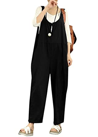 b1f620f5426c Amazon.com  Romacci Women Cotton Linen Baggy Overalls Jumpsuits Vintage Sleeveless  Wide Leg Pants Rompers  Clothing