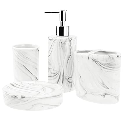 Amazon Com 4 Piece Ceramic Bathroom Accessories Set Complete