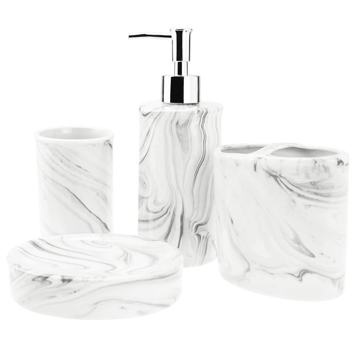 4-Piece Ceramic Bathroom Accessories Set, Complete Marble Style Bathroom Ensemble Sets for Bath Decor Includes Soap Dispenser Pump, Toothbrush Holder, Tumbler, Soap Dish, Ideas Home Gift(Black)