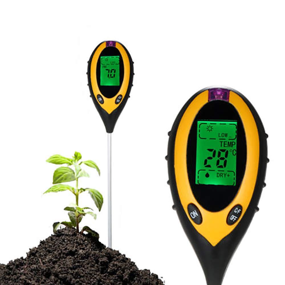 Lichtintensit/ät Boden Feuchtigkeitsgehalt Temperatur PH Gro/ßes LCD-Display mit Hintergrundbeleuchtung 4-in-1-Bodentester f/ür Gartenbauernh/öfe