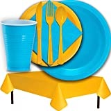 Plastic Party Supplies for 50 Guests - Aqua and Yellow - Dinner Plates, Dessert Plates, Cups, Lunch Napkins, Cutlery, and Tablecloths - Premium Quality Tableware Set