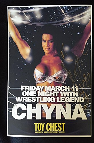 (Chyna WWE Signed Promo Poster From One Of Her Final Public Appearances - Autographed Wrestling Photos)
