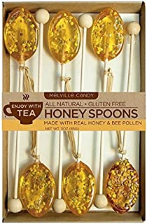 product image for Melville Candy All Natural Honey Spoons, Clover Honey with Bee Pollen 3oz, 6-Count Box