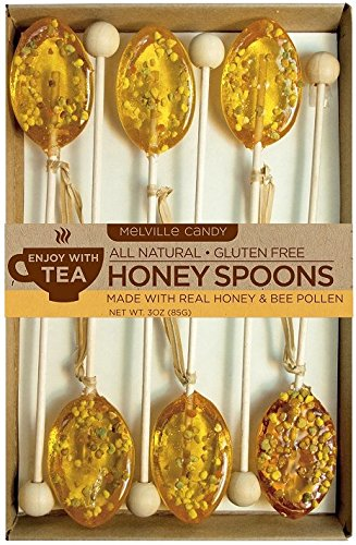 Melville Candy All Natural Honey Spoons, Clover Honey with Bee Pollen 3oz, 6-Count Box