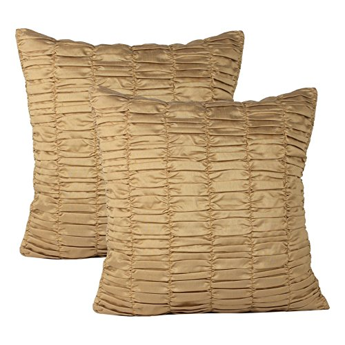 Unique 2 Flange (Set of 2 Gold Pillow Case, Ruched, Textured (Solid Gold, 18x18 inches))