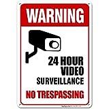 Sigo Signs 24 Hour Video Surveillance, No Trespassing Sign Legend, Aluminum