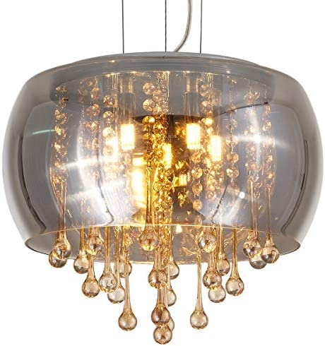 YLONG-ZS Flush Mount Golden Crystal Chandelier Lighting Finishing Glass Smoky Gray Big Drum Chandeliers Ceiling Light Fixture 5 G9 Bulbs Pendant Light in Hall or Bedroom