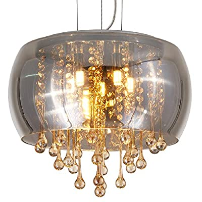 YLONG-ZS Flush Mount Golden Crystal Chandelier Lighting Finishing Glass Smoky Gray Big Drum Chandeliers Ceiling Light… - 【ADJUSTABLE STYLING】Adjustable chain length: 35.43 inches, Removable chain or wire to let you easily customize your lighting needs. 【PERFECT DESIGN】 Modern perfect design drum shade Chandeliers pendant lighting , it can make your home more comfortable and beautiful, you will love it at first. Please don't worry the cleaning problem, this dome glass shape keeps the crystal beans dust free and easy to clean. 【 COMPATIBLE BULBS】Steel Chrome Metal and Grey Color Clear Finishing Glass Lamp shade, Its shape is much special and this pendant lights are ideal to hang with in 6*5 W G 9 LED bulb (NOT more than 60 W )which our product package is NOT INCLUDED. - kitchen-dining-room-decor, kitchen-dining-room, chandeliers-lighting - 517USBxDJcL. SS400  -