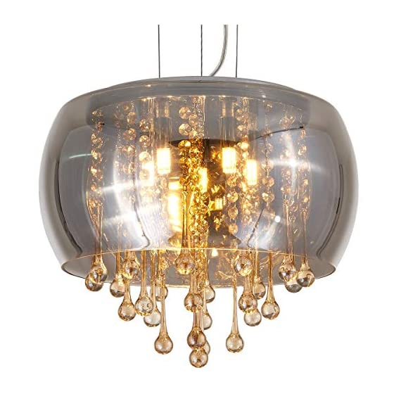 YLONG-ZS Flush Mount Golden Crystal Chandelier Lighting Finishing Glass Smoky Gray Big Drum Chandeliers Ceiling Light Fixture 5 G9 Bulbs Pendant Light in Hall or Bedroom - 【ADJUSTABLE STYLING】Adjustable chain length: 35.43 inches, Removable chain or wire to let you easily customize your lighting needs. 【PERFECT DESIGN】 Modern perfect design drum shade Chandeliers pendant lighting , it can make your home more comfortable and beautiful, you will love it at first. Please don't worry the cleaning problem, this dome glass shape keeps the crystal beans dust free and easy to clean. 【 COMPATIBLE BULBS】Steel Chrome Metal and Grey Color Clear Finishing Glass Lamp shade, Its shape is much special and this pendant lights are ideal to hang with in 6*5 W G 9 LED bulb (NOT more than 60 W )which our product package is NOT INCLUDED. - kitchen-dining-room-decor, kitchen-dining-room, chandeliers-lighting - 517USBxDJcL. SS570  -