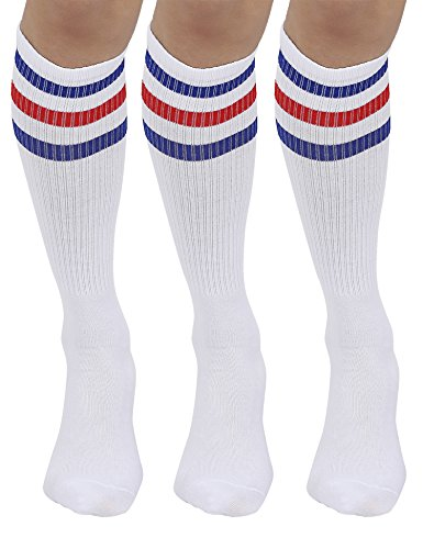 Joulli Triple Stripes White Knee High Tube Socks 1-3 Pairs -