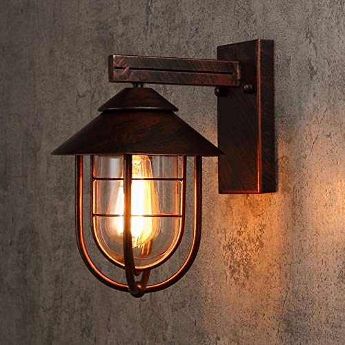 KunMai Vintage One Light Wall Sconce Lighting Metal Cage Clear Glass Shaded Nautical Indoor Outdoor Wall Lamp in Antique Copper (Copper Indoor Sconce Wall)