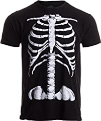 A unisex t-shirt with a professionally applied, giant screen print on the front of a skeleton's torso..