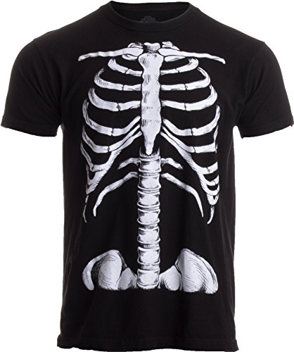 Skeleton Halloween Costume Man (Skeleton Rib Cage | Jumbo Print Novelty Halloween Costume Unisex T-shirt-Adult,L)